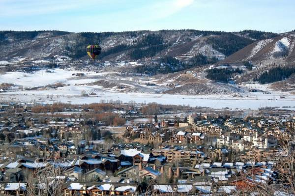 An aerial view of the snowy mountain town Steamboat Springs, CO